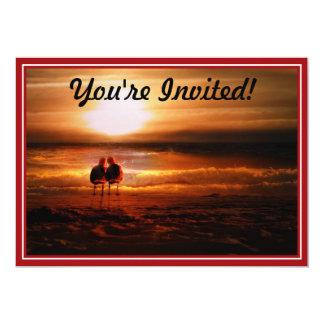 Seagulls - Lovebirds at Sunset 13 Cm X 18 Cm Invitation Card