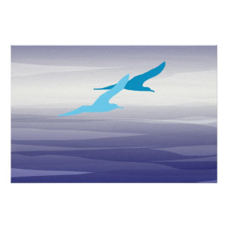 Seagulls on Canvas Poster