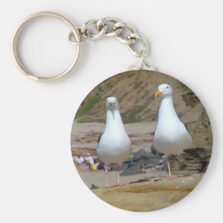 Seagulls On Oceans Beach Basic Round Button Key Ring