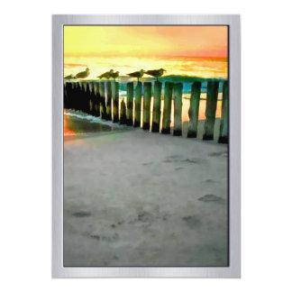 Seagulls on Pilings at Sunset 13 Cm X 18 Cm Invitation Card