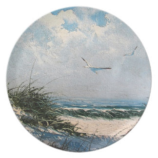 Seagulls on the beach plate