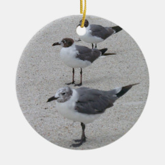 Seagulls on the Beach Plate Round Ceramic Decoration