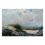 Seagulls on the beach poster