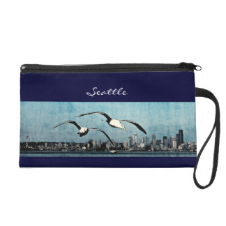 Seagulls Over Seattle Wristlet or Cosmetic Bag