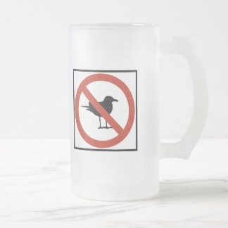 Seagulls Prohibited Frosted Glass Beer Mug