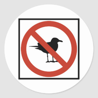 Seagulls Prohibited Round Sticker