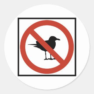 Seagulls Prohibited Round Sticker