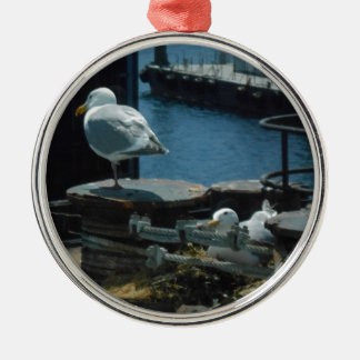 Seagulls Silver-Colored Round Decoration