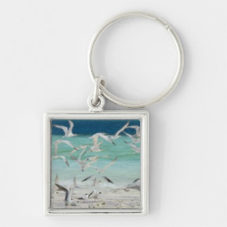 Seagulls Silver-Colored Square Key Ring