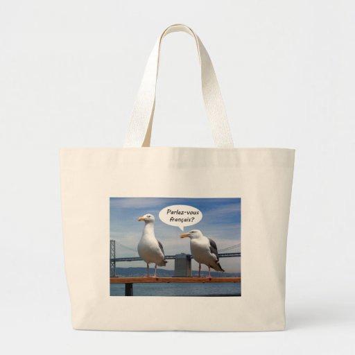 Seagulls speak French Jumbo Tote Bag