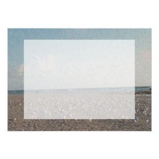 seagulls standing on beach fibered look custom announcements