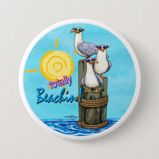 Seagulls Totally beachin button