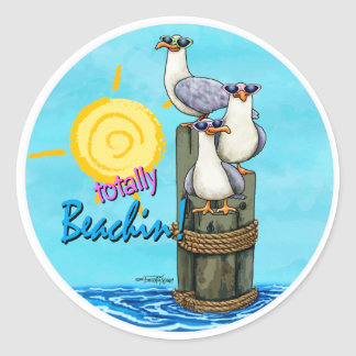 Seagulls Totally beachin stickers