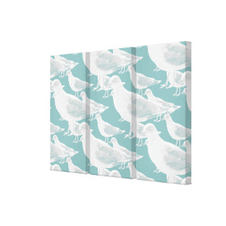 Seagulls You Choose Background Color Stretched Canvas Print