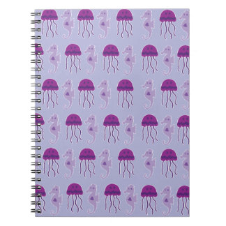 Seahorse and Jellyfish Spiral Notebook