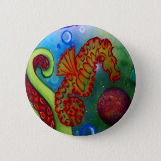 seahorse and octopus tentacle 6 cm round badge
