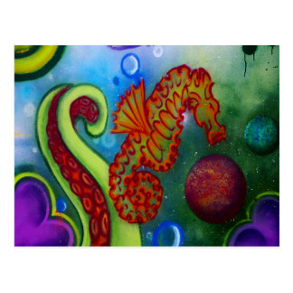 seahorse and octopus tentacle postcard