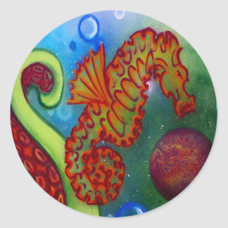 seahorse and octopus tentacle round sticker