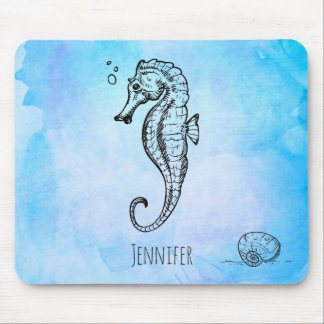 Seahorse and Seashell on Blue Watercolor Custom Mouse Mat