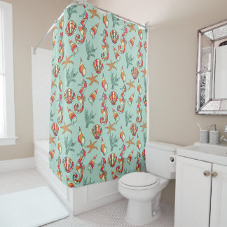 Seahorse and Seashell Pattern Shower Curtain