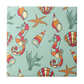 Seahorse and Seashell Pattern Tile
