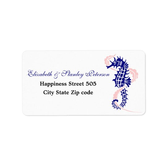 Seahorse and seaweed navy blue, pink wedding address label