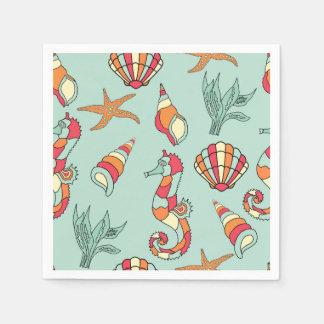 Seahorse and shells paper napkins