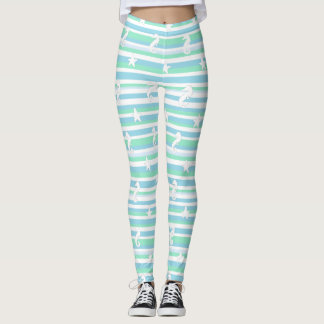 Seahorse and Starfish Blue Green White Leggings