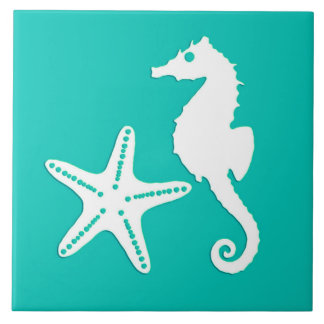 Seahorse and starfish - white on turquoise large square tile