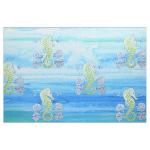 Seahorse and Water Linen Fabric