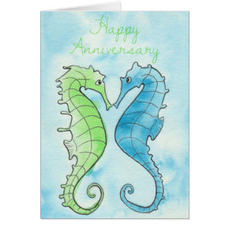 Seahorse Anniversary Greeting Card
