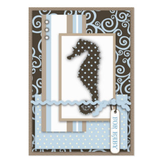 Seahorse Baby Boy Thank You Notecard Pack Of Chubby Business Cards