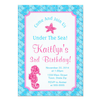 Seahorse Birthday Invitation Girl Under The Sea