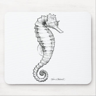 Seahorse Black and White Drawing Mouse Mat