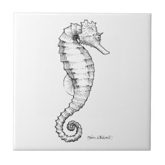 Seahorse Black and White Drawing Tile