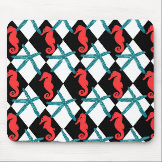 Seahorse Black Teal Textile Mouse Pad