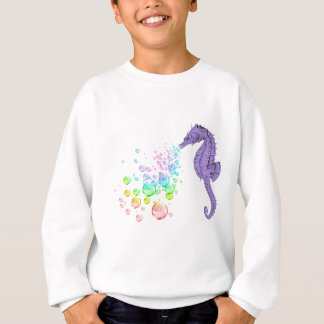 seahorse blowing rainbow bubbles sweatshirt