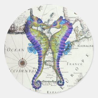 Seahorse Blue Classic Round Sticker