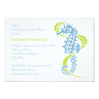 "Seahorse blue, green wedding bridal shower 5"" x 7"" invitation card"