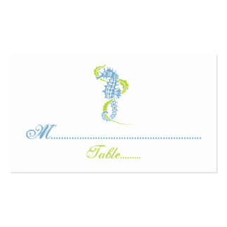 Seahorse blue, green wedding place card pack of standard business cards