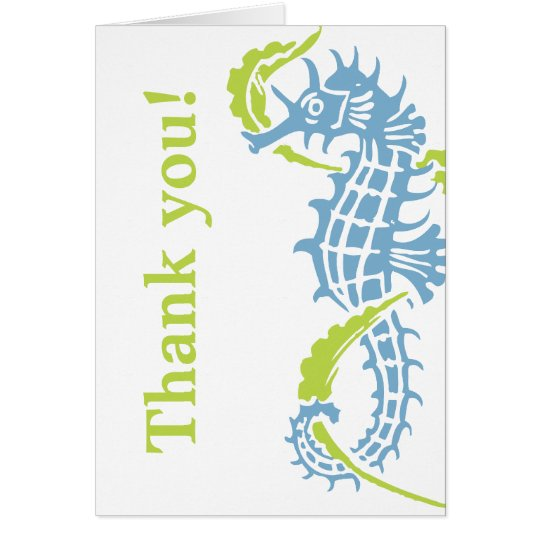 Seahorse blue, green wedding Thank You Card