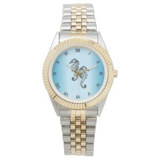 Seahorse Blue Roman Numerals Watch