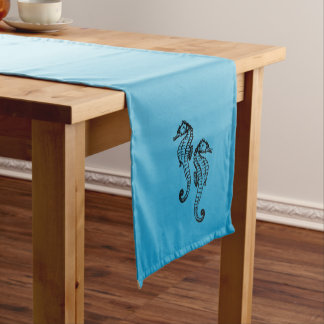 Seahorse Blue Short Table Runner