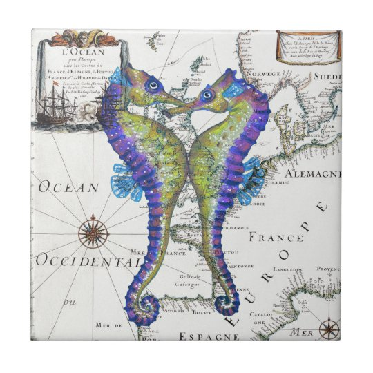 Seahorse Blue Small Square Tile