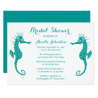 Seahorse Bridal Shower Teal Turquoise Green Card