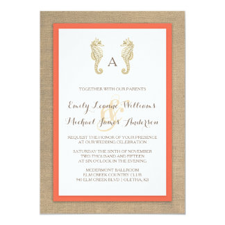 Seahorse Burlap Beach Tropical Wedding Invitation