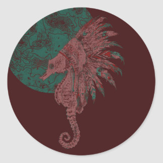 seahorse by the moon classic round sticker