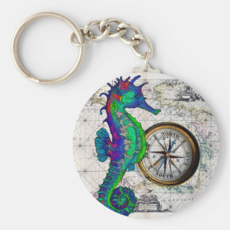 Seahorse Compass Collage Key Ring