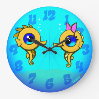 Seahorse Couple Large Clock
