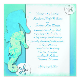 Seahorse Couple Wedding Set, Couple Inviting Card